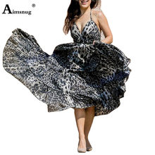 Женское длинное платье с леопардовым принтом aimsnug повседневное