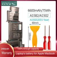 FERISING New 11.42V A1582 Original Laptop Battery for Apple For MacBook Pro 13 Retina A1502 ( 2015 Version ) Bateria 6600mAh