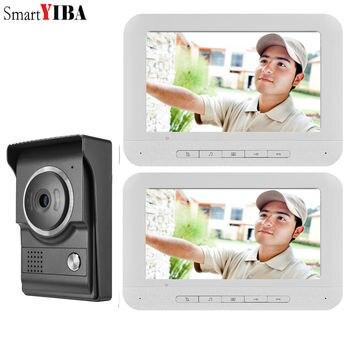 """SmartYIBA  7"""" LCD Screen Video Wired Door Phone Intercom Door Entry System Release Unlock Doorbell Kits For Home Surveillance"""