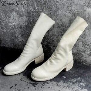 Image 5 - Buono Scarpe Da Thật Chính Hãng Da Xếp Ly Thời Trang Giày Thương Hiệu Thiết Kế Dây Khóa Kéo Màu Chun Botas Fenimina Giày Da Zapatos Mujer