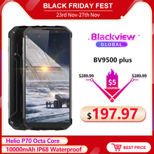 "Blackview BV9500プラスエリオP70オクタコアの携帯電話5.7 ""スクリーンアンドロイド9.0 10000mah 4ギガバイト64ギガバイトIP68防水スマートフォン"