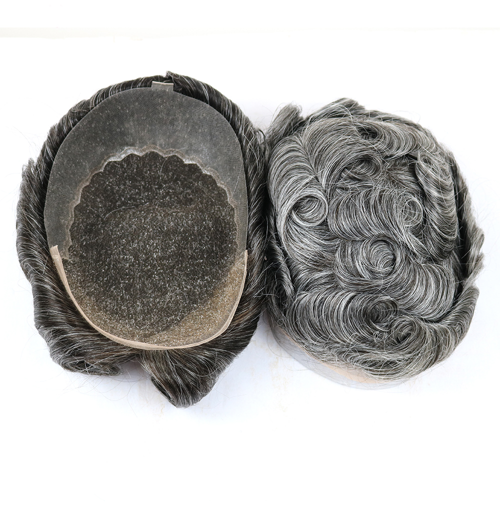 Grey Color Lace Mens Toupee Swiss Lace Front With Pu Toupee For Men Replacement System 4 Sizes Human Hair Men Wigs