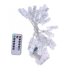2.1M LED Photo Clip String Lights Party Festival Decor Lamp with Remote Control Battery Case