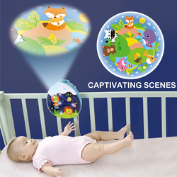 HOLA 1105 Baby Rattles Crib Mobiles Toy Holder Rotating Crib Mobile Bed Musical Box Projection 0-12 Months Newborn Infant Baby