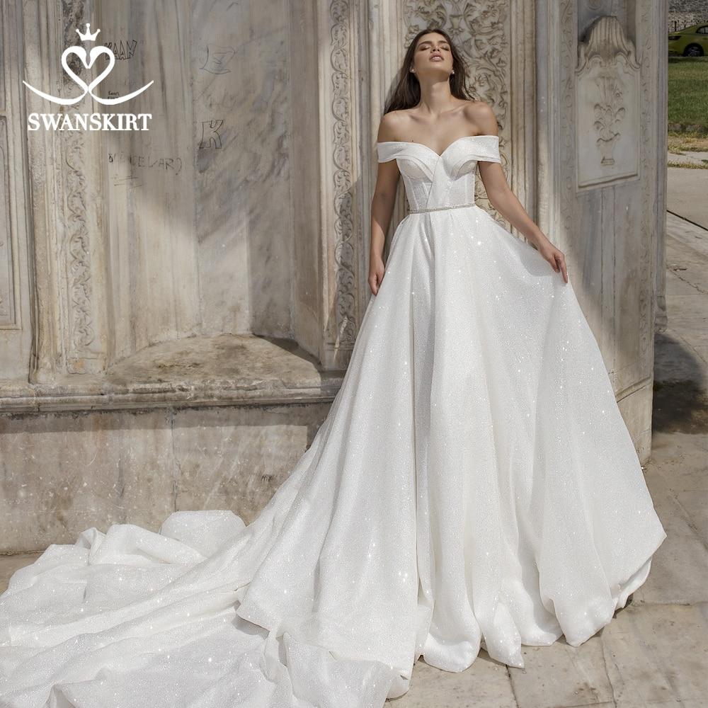 Stunning Off Shoulder Wedding Dress Swanskirt Sweetheart Crystal A-Line Bride Grown Princess Customized Vestido De Noiva DY01