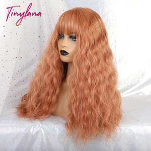 Image 3 - TINY LANA Long Loose Wave Synthetic Wigs Orange Pink Color With Bangs For America Women Heat Resistant Fibre Cosplay Lolita Hair