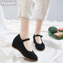 Veowalk 7cm Hidden Wedge Women Jacquard Fabric Heel Shoes Ladies Comfortable Embroidered Pumps Chic Chinese Knot Dress Shoes