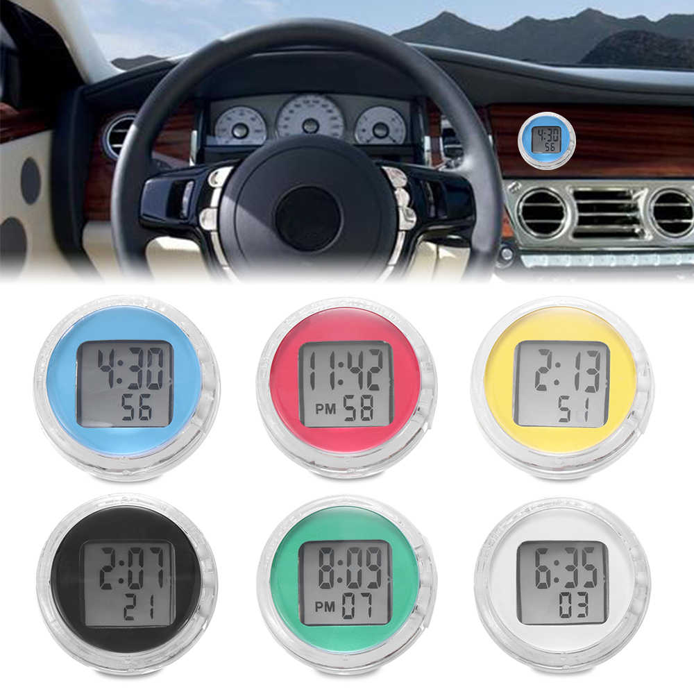 1PC Impermeabile Auto Moto Digital Clock Orologio Stick-On Moto Con Il Cronometro Automobiles Accessori Interni