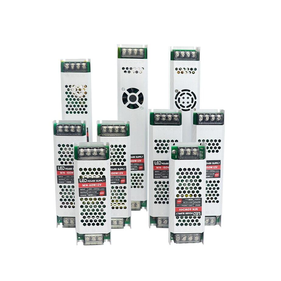 Ultra Dünne LED Netzteil DC12V 24V Beleuchtung Transformatoren 60W 100W 150W 200W 300W 400W AC190-240V Fahrer Für LED Streifen