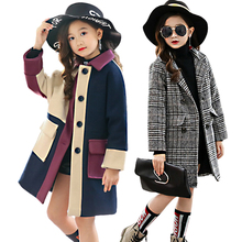 Girl woolen coat Winter girls thick Long Jackets childrens clothing Jacket amp Outwear wear large childrens Turn-down woolen coat cheap Fashion Polyester Cotton CN(Origin) Patchwork MANDARIN COLLAR Outerwear Coats Full Fits true to size take your normal size