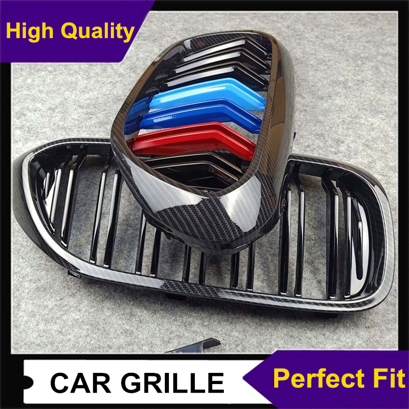 A Pair <font><b>G30</b></font> G38 Carbon Look Double Slat Car <font><b>Grille</b></font> For Bmw 5 Series 2018-IN ABS Glossy Black/ M Color Replacement Front <font><b>Grille</b></font> image