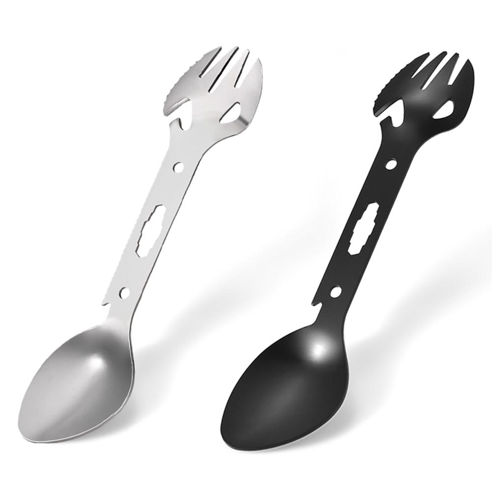 Tableware Spoon Multi Tool Can Opener Flatware Portable Bottle Cutlery Multitool Camp Utensil Fork Spork Stainless Steel Picnic