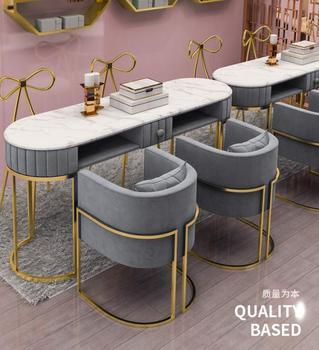 Marmurowy stół do manicure i zestaw krzeseł netto czerwony pojedynczy podwójny stół do manicure podwójny stół do manicure stół roboczy tanie i dobre opinie CN (pochodzenie) Meble do salonu Stół paznokci Meble komercyjne