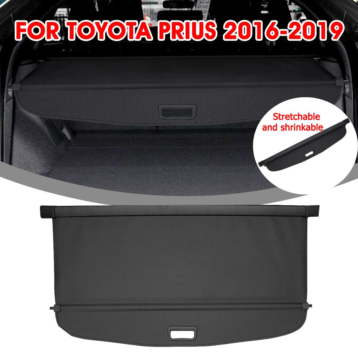 Audew For Toyota Prius 2016-2019 Car Trunk Shade Rear Security Cargo Cover Aluminum Auto Rear Cargo Screen Security Shield Shade