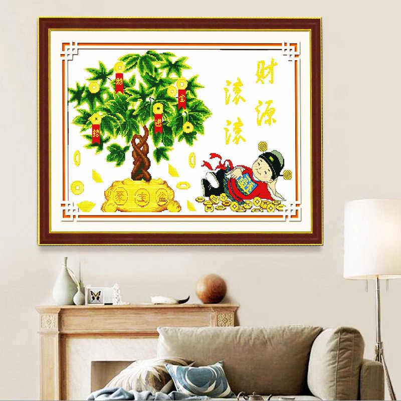 Китайское густое дерево напечатано холст Счетный крест наборы напечатаны крестиком Набор для вышивки живопись рукоделие
