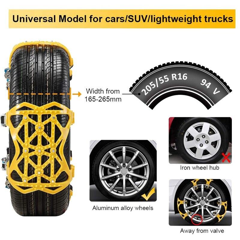 Цепь для снега 7 Упаковка для GM противоскользящая аварийная Регулируемая цепь для шин, подходит для внедорожников, бегущих по льду и снежным... - 4