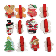 KIWARM 12Pcs Christmas Wooden Clips Cartoon Santa Claus Pegs Card Holder Craft Photo Clip DIY Wall Decoration For Home Dorm Room(China)