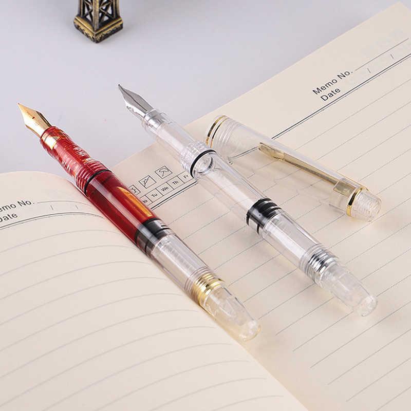 Pluma estilográfica de pistón transparente pluma de tinta transparente EF F Nib Extra fina de gran capacidad de escritura SP99