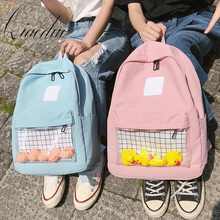 Qiaoduo Casual Clear Waterproof Womens Backpack Harajuku Nylon Travel Schoolbags Cute Small Duck Student Back Pack Teen Girls
