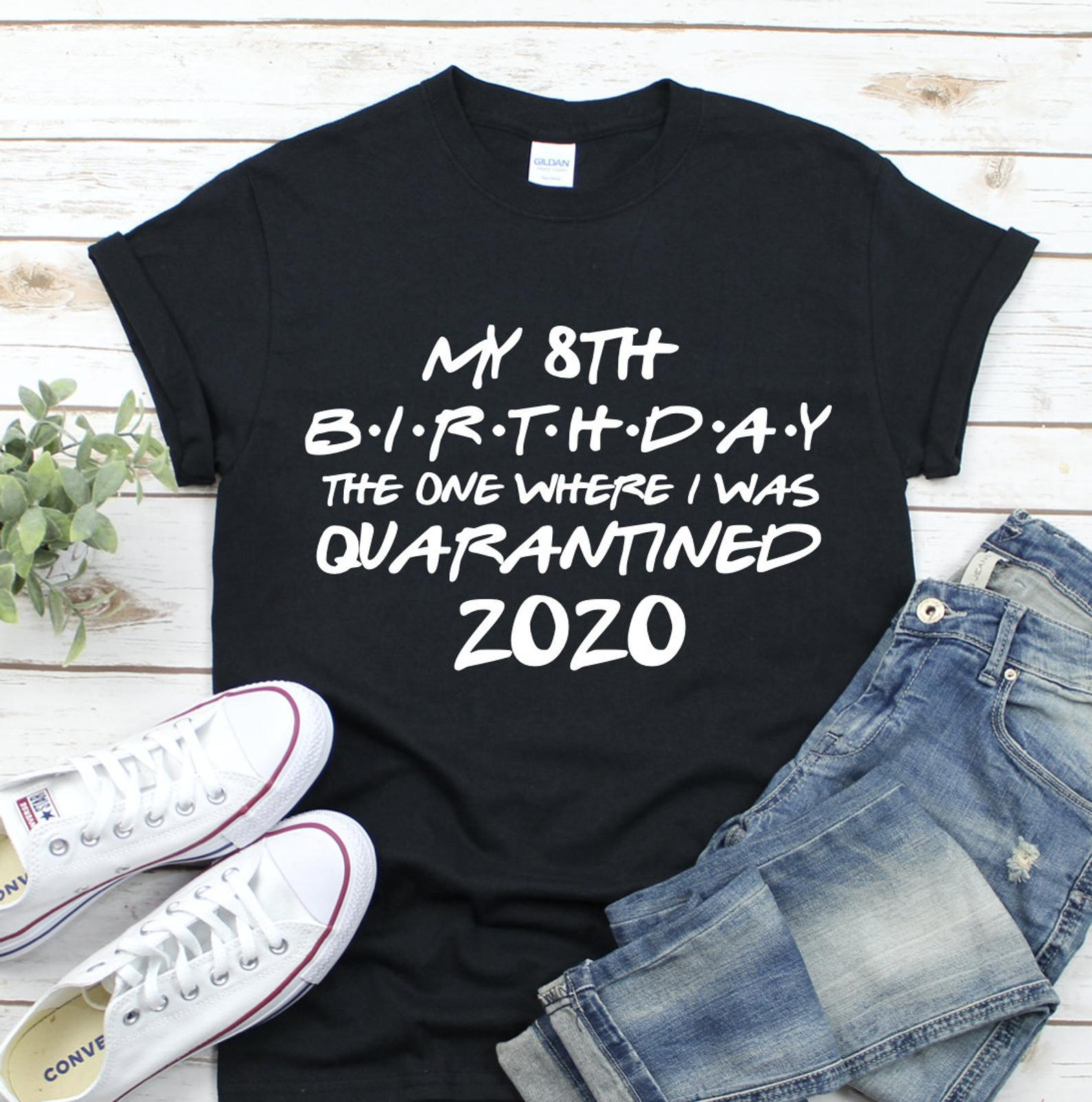 100% Pure Cotton T Shirt My <font><b>8th</b></font> <font><b>Birthday</b></font> Letter Print Women Short Sleeve O Neck Loose Tshirt 2020 Summer Tee Shirt Tops Mujer image