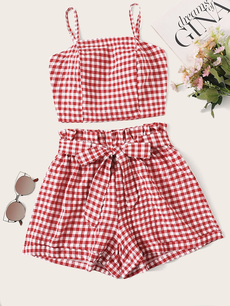 ZUORLGOE Woman Two Piece Set Gingham Bubble Lattice Sling Crop Top Shorts Pullover Above Knee, Mini Elastic Waist Casual