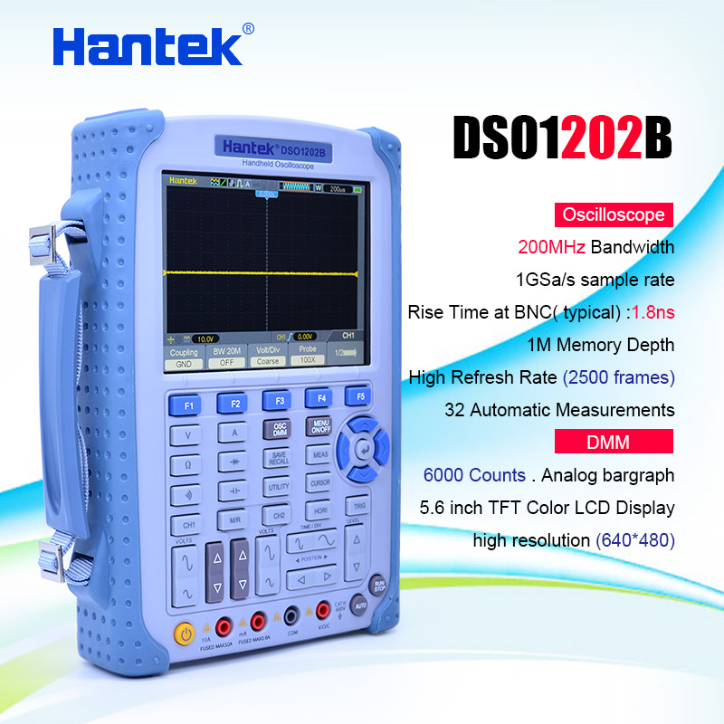 Hantek <font><b>DSO1202B</b></font> Handheld Oscilloscope 2CH 200MHz 1GSa/s 1M Memory Depth oscilloscope with 6000 multimeter Factory direct sales image