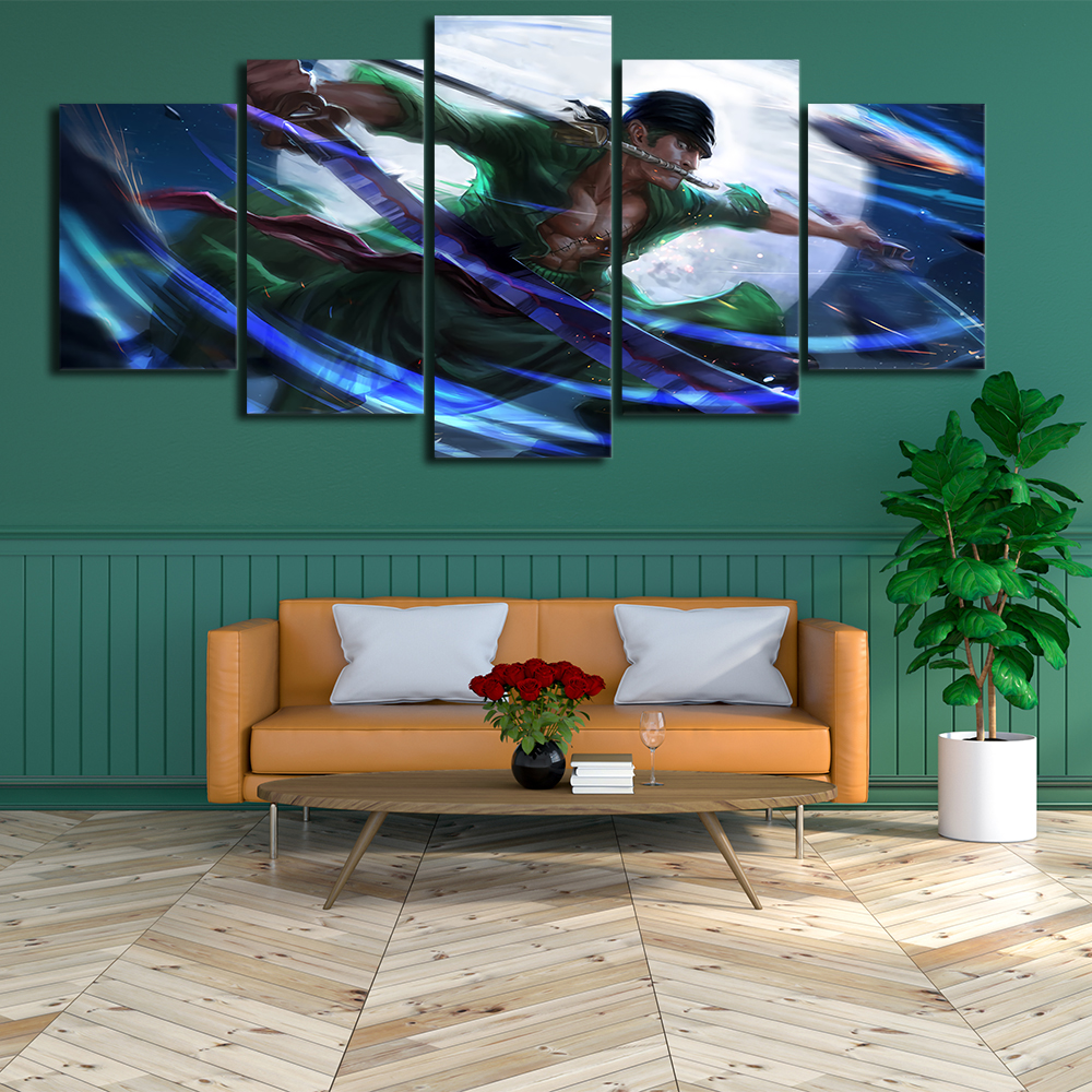 Wall art picture 5 piece set Roronoa Zoro poster canvas print home decoration painting living room modular frame in Painting Calligraphy from Home Garden