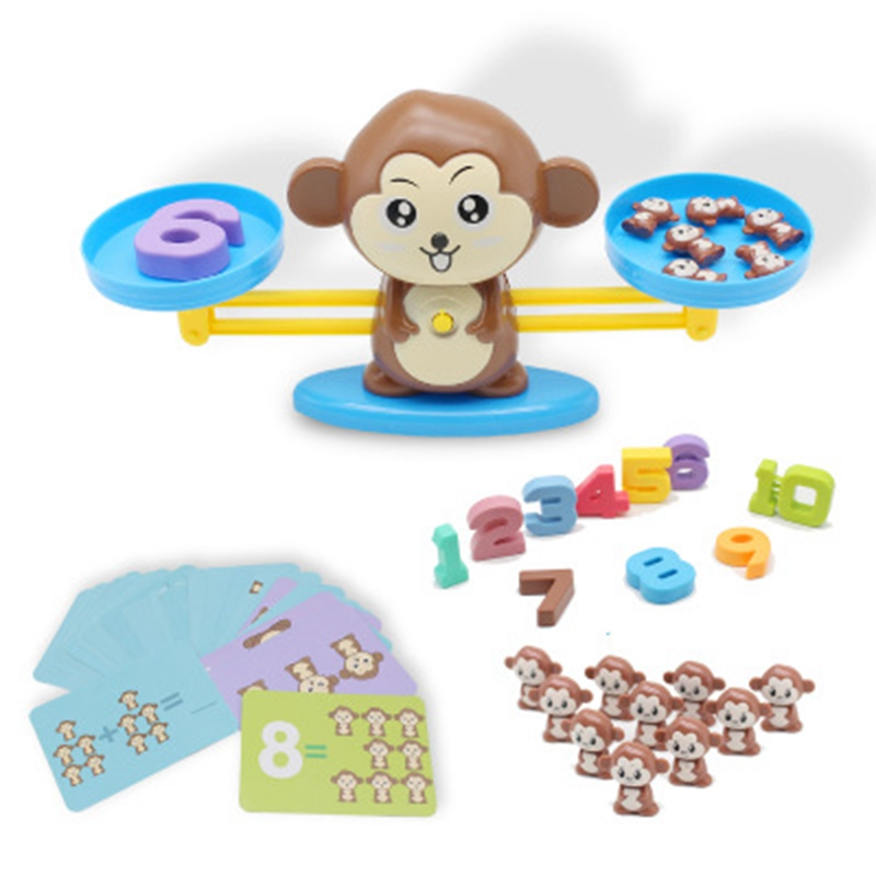 Math Toy Match Game Board Toys Monkey Cat Match Balancing Scale Number Balance Game Kids Educational Toy Learning Preschool Toy image