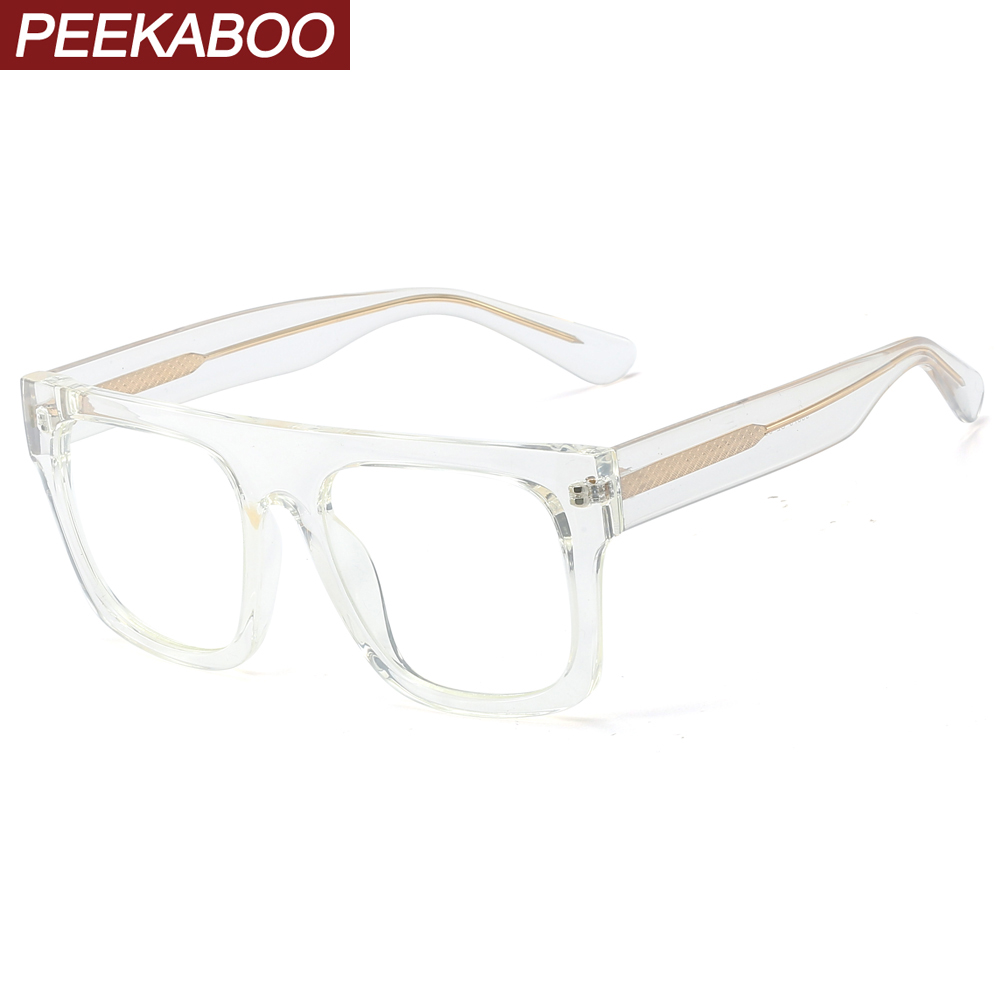 Peekaboo tr90 frame square glasses for men black transparent big fashion eyeglasses optical accessories woman clear lens Men