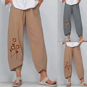 женские штаны Straight woman pants Summer Cotton Print High Waist sweatpants women mujer pantalones комбинезон женский лето Z4 цена 2017