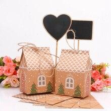 Saco de presente para doces de natal, saco de presente em forma de casa com cordas para árvore e biscoitos, caixas de embalagem para convidados de natal, 1 conjunto decoração