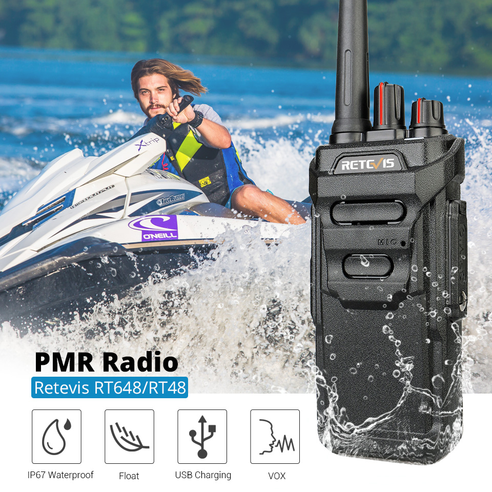 RETEVIS RT48/RT648 IP67 Waterproof  Walkie Talkie Floating PMR Radio PMR446/FRS VOX USB Charging Two Way Radio For Baofeng UV-9R