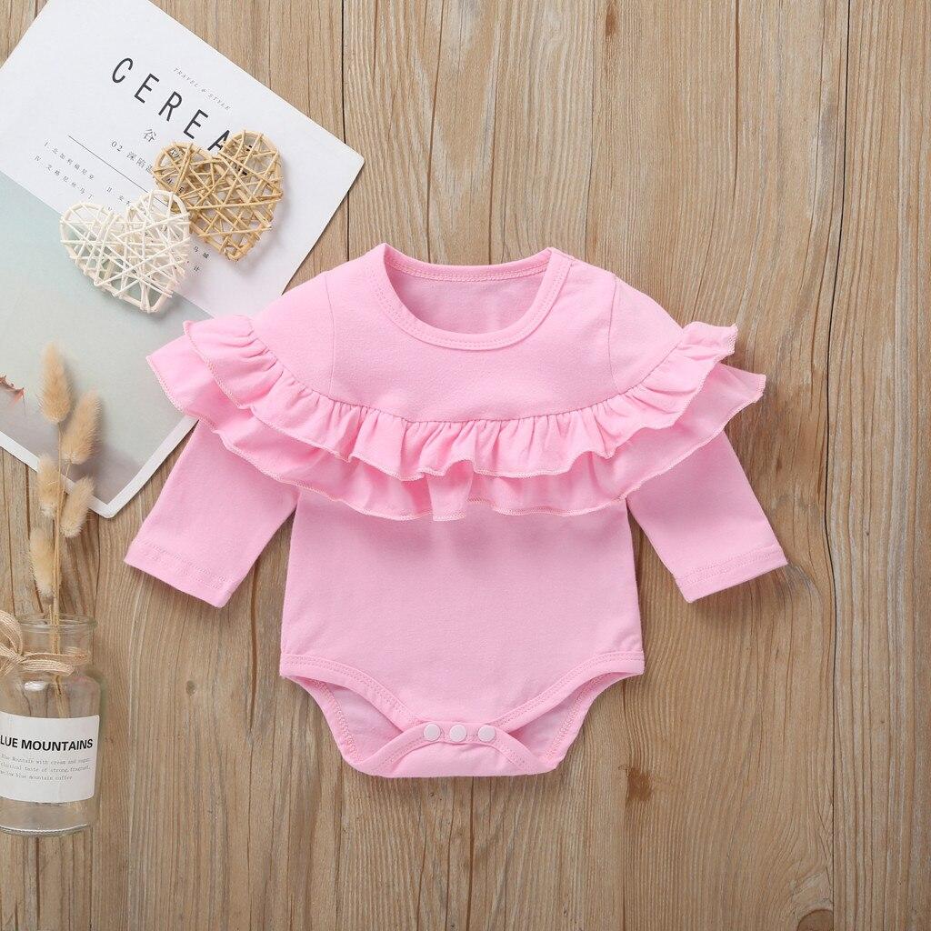 Baby Bodysuit Long Sleeve Baby Body Neonato Clothes Baby Girl Onesie Funny Bodies Bebe Algodon NEW Double Ruffles Solid 3-18m Z4