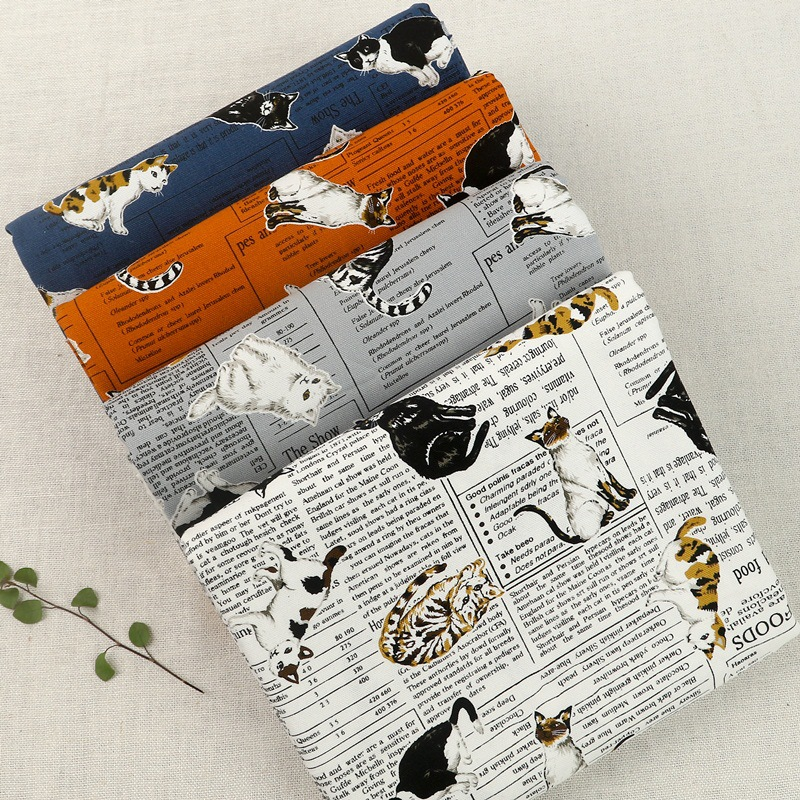 Cartoon Cat Print Newspaper Cotton Linen Fabric English Pictorial Cute Cat Handmade Bag Fabric Hug Pillowcase Tablecloth