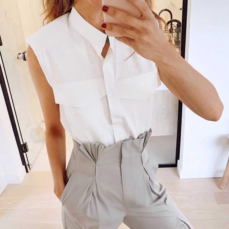 TWOTWINSTYLE אלגנטי נשים חולצות Lepal צווארון שרוולים רופף רופף אלגנטי Ruched לנשים אופנה בגדים 2020 חדש