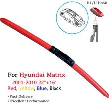 HESITE Car Front Winshield Wiper Blades For Hyundai Matrix Lavita Parts Accessories 2004 2005 2006 2008 22+16 Red Blue Wipers hyundai matrix 2005