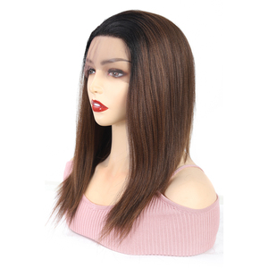 Image 3 - Ombre Brown Synthetic Lace Front Wigs For Women High Temperature Fiber Hair X TRESS Straight Lace Wig Free Part With Baby Hair