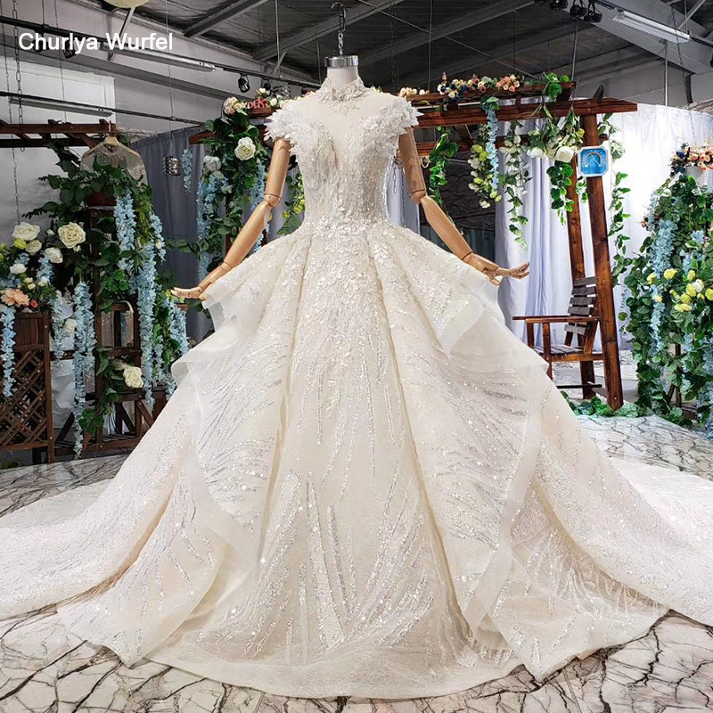 HTL666 Wedding Gowns Short Sleeves Cathedral Train Buttons Sequined Beading Ruffles  Wedding Dress 2019 Boho Vestido De Novia