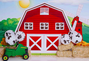 Image 4 - Mehofond Photography Background Farm Red Barn Rustic Animals Hay Baby Birthday Party Decor Portrait Backdrop Photo Studio Props