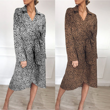 Autumn Long Sleeve Dress Wrap Chiffon Leopard V Neck Spring Shirt Women Vestido Casual Womens Clothing