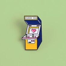 Retro dibujos animados amor corazón color 80s Vintage juego Arcade On Pins accesorios joyería bolsa mochila broches regalos para chico