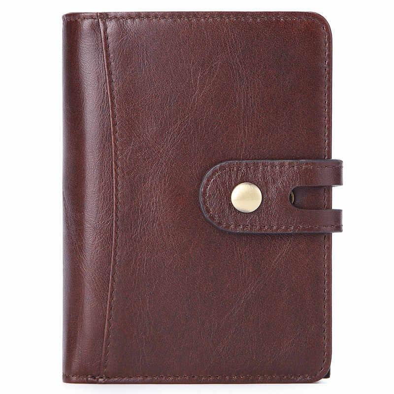 Sıcak hakiki çılgın at inek derisi deri erkek cüzdan kısa para çanta küçük Vintage cüzdan lüks marka yüksek kaliteli tasarımcı