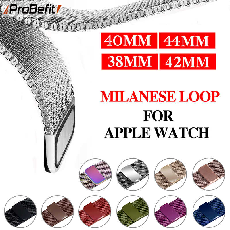 Milanese Loop Gelang Stainless Steel Band untuk Apple Watch Seri 1/2/3 42 Mm 38 Mm Gelang tali untuk IWatch 4 5 40 Mm 44 Mm