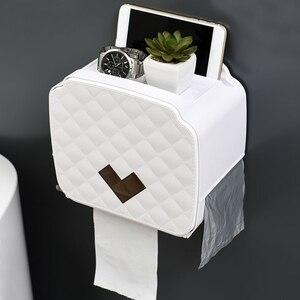 Image 4 - ウォールマウントトイレットペーパーホルダー収納ボックストイレットペーパートレイ防水浴室ティッシュボックスロール紙管バスルームオーガナイザー