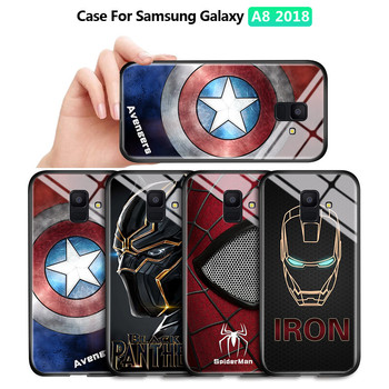For Samsung Galaxy A8 A6 Plus 2018 A750 A730 A530 Marvel Avengers Superhero Case Ironman Black Panther Tempered Glass Back Cover image