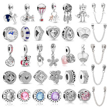 Boosbiy 2pc New Fashion Love Heart Dreamcatcher Charms Beads fit Pandora Bracelets Necklaces For Women DIY Jewelry Accessories