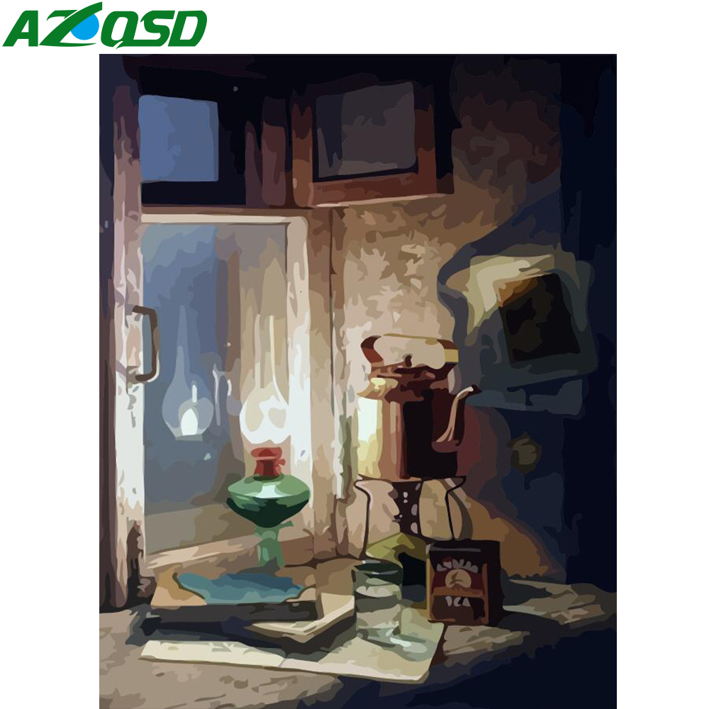 AZQSD Painting By Numbers Scenery DIY 40X50cm No Frame Handmade Gift Draw By Number Lamp Acrylic Kids Paint Wall Art