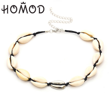 HOMOD New Fashion Black Rope Chain Natural Seashell Choker Necklace Collar Necklace Gold Silver Necklace for Summer Beach Gifts new fashion leather style wrb982 men harness bondage beach shoulder chain collar choker silver necklace jewelry accessories