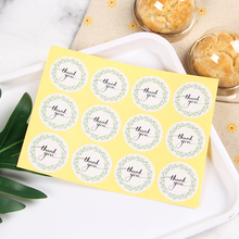 120Pcs/pack Green Leaf Wreath Label Hand Made With Thank You Sticker Baking Gift Sealing Stickers