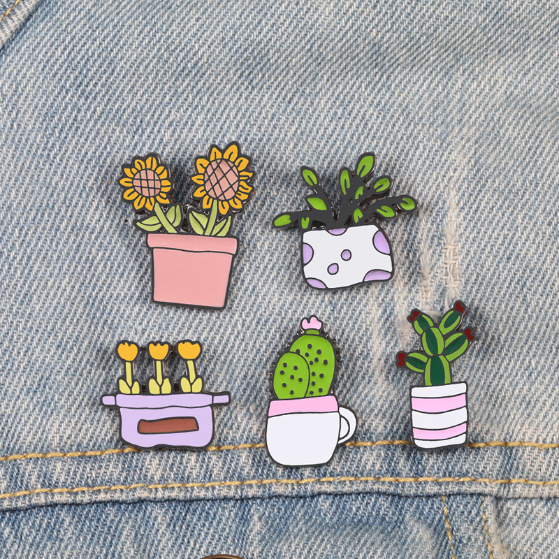 Potted Plants Pins Sunflower Brooches Badges For Woman Girl Cactus Flowers Lapel Pins Shirt Catoon Brooch Natural Jewelry Gift